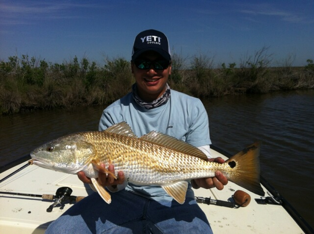 a fisherman holding a redfish caught on a baitcaster